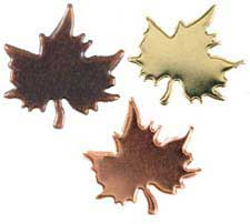 Gold, Copper & Bronze Maple Leaf Brads, Pack of 50
