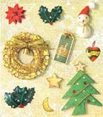 Golden Wreath & Cute Snowman - 3D Decoupage Stickers