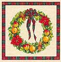 A4 Red Wreath with Border Designs x 4 - Decoupage Paper