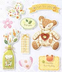 Patchwork 'Just For You' Bear - 3D Decoupage Stickers