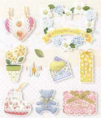 Patchwork Hearts and Flowers - 3D Decoupage Stickers