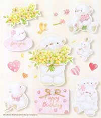 White Bear with Flowers - 3D Decoupage Stickers