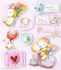 Bears on Tri-cycle - 3D Decoupage Stickers