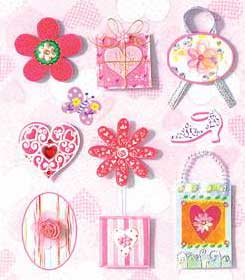 Pink Flowers, Hearts and Presents - 3D Decoupage Stickers