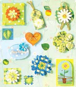 Green and Blue Flowers  - 3D Decoupage Stickers