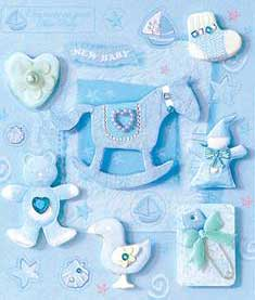 Blue Rocking Horse and Bear - 3D Decoupage Stickers