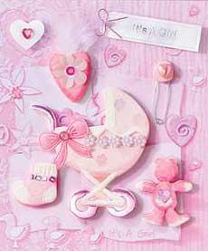 Pink Pram - 3D Decoupage Stickers