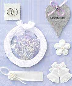 Wreath of White Flowers - 3D Decoupage Stickers