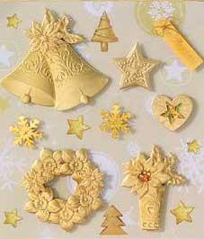 Golden Bells & Ponsiettas- 3D Decoupage Stickers
