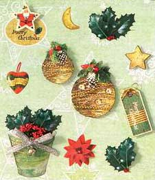 Pot of Holly - 3D Decoupage Stickers