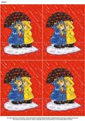 A4 Bears Under Umbrella x 4 - Decoupage Paper