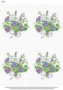 A4 Bunch of Purple Geranium x 4 - Decoupage Paper
