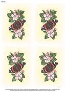 A4 Red Admiral Butterfly x 4 - Decoupage Paper