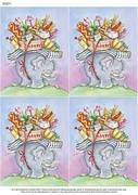 A4 Moving Home Elephant Design x 4 - Decoupage Paper