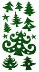Glitter Christmas Tree Stickers Green 12 Assorted