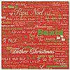 Red Santa Words Scrapbooking Paper 12x12""