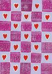 Border Panel -Purple Squares Pattern with Hearts